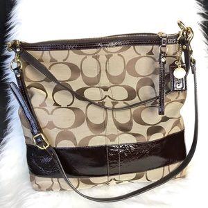Coach Signature Canvas Convertible Hobo Handbag